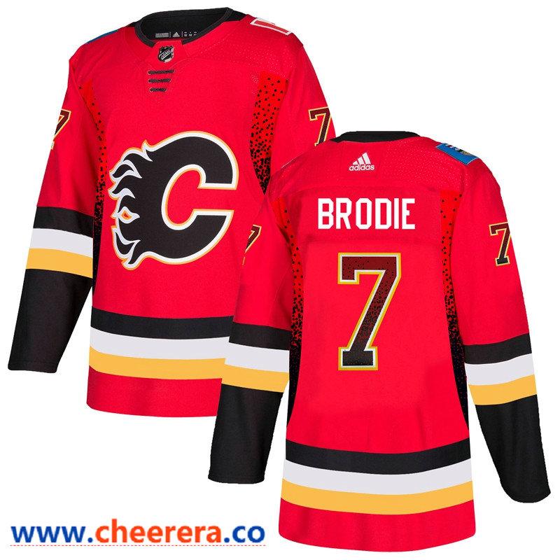 Men's Calgary Flames #7 T.J. Brodie Red Drift Fashion Adidas Jersey