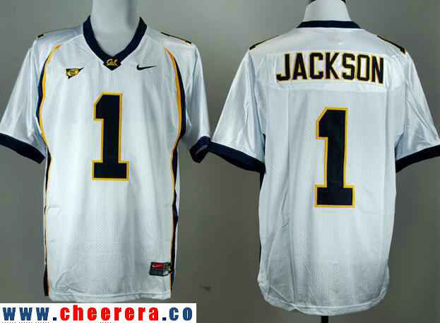 Men's California Golden Bears #1 DeSean Jackson White Stitched College Football Nike NCAA Jersey