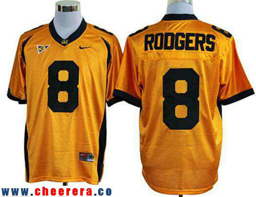 Men's California Golden Bears #8 Aaron Rodgers Yellow Stitched College Football Nike NCAA Jersey