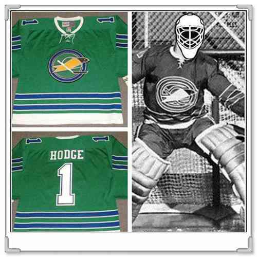 Men's California Golden Seals #1 CHARLIE HODGE 1967 CCM Vintage Throwback Home Green Jersey