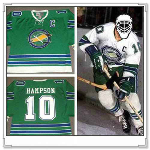 Men's California Golden Seals #10 TED HAMPSON 1968 CCM Vintage Throwback Home Green Jersey