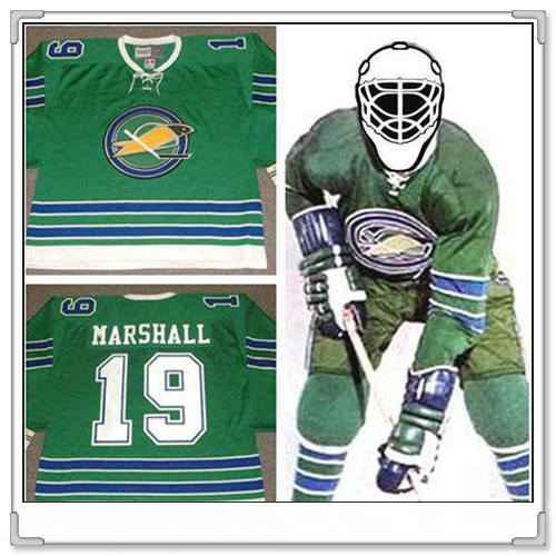 Men's California Golden Seals #19 bert marshall 1968 CCM Vintage Throwback Home Green Jersey