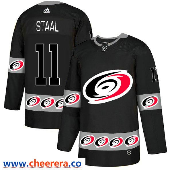 Men's Carolina Hurricanes #11 Jordan Staal Black Team Logos Fashion Adidas Jersey