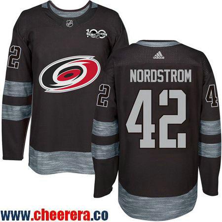 Men's Carolina Hurricanes #42 Joakim Nordstrom Black 100th Anniversary Stitched NHL 2017 adidas Hockey Jersey