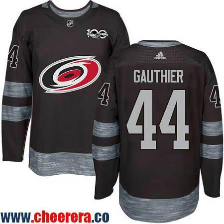 Men's Carolina Hurricanes #44 Julien Gauthier Black 100th Anniversary Stitched NHL 2017 adidas Hockey Jersey