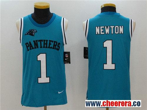 Men's Carolina Panthers #1 Cam Newton Light Blue Color Rush 2017 Vest Stitched NFL Nike Tank Top Jersey