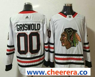 Men's Chicago Blackhawks #00 Clark Griswold White 2017-2018 Hockey Stitched NHL Jersey