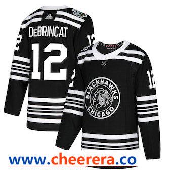 Men's Chicago Blackhawks #12 Alex DeBrincat Black 2019 Winter Classic Adidas Stitched NHL Jersey
