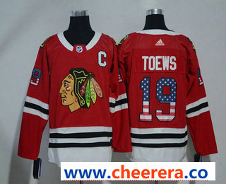 Men's Chicago Blackhawks #19 Jonathan Toews Red With USA Flag 2017-2018 Hockey Stitched NHL Jersey