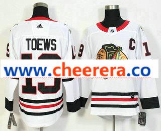 Men's Chicago Blackhawks #19 Jonathan Toews White 2017-2018 Hockey Stitched NHL Jersey