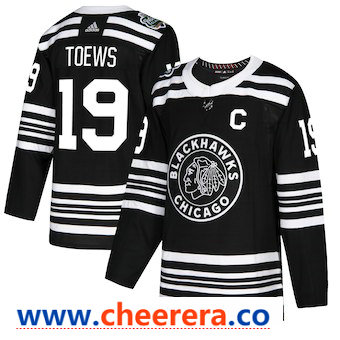 Men's Chicago Blackhawks #19 Jonthan Toews Black 2019 Winter Classic Adidas Stitched NHL Jersey