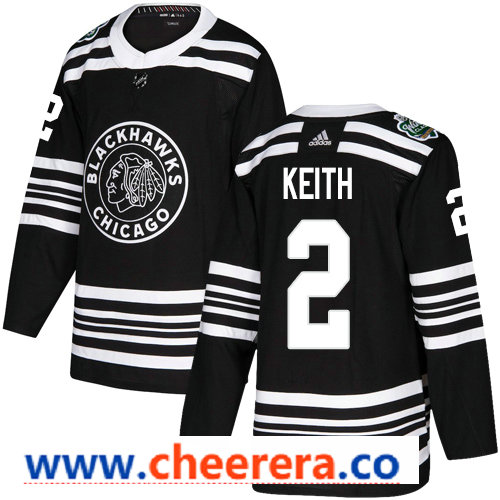 Men's Chicago Blackhawks #2 Duncan Keith Black 2019 Winter Classic Adidas Stitched NHL Jersey