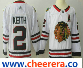 Men's Chicago Blackhawks #2 Duncan Keith White 2017-2018 Hockey Stitched NHL Jersey