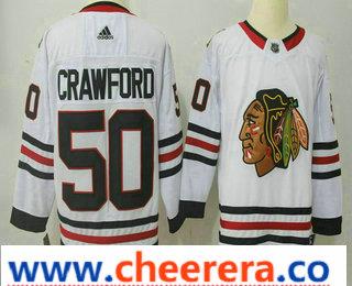 Men's Chicago Blackhawks #50 Corey Crawford White 2017-2018 Hockey Stitched NHL Jersey