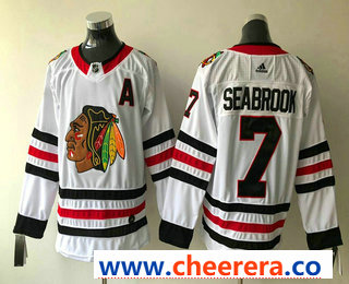 Men's Chicago Blackhawks #7 Brent Seabrook White With A Patch 2017-2018 Hockey Stitched NHL Jersey