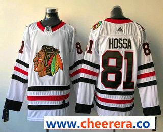 Men's Chicago Blackhawks #81 Marian Hossa White 2017-2018 Hockey Stitched NHL Jersey