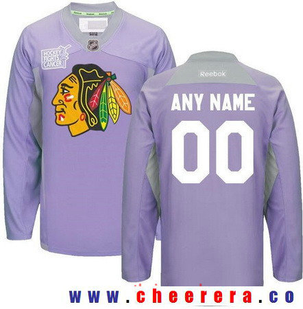 Men's Chicago Blackhawks Purple Pink Custom Reebok Hockey Fights Cancer Practice Jersey
