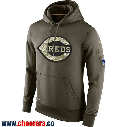 Men's Cincinnati Reds Nike Olive Green Salute To Service MLB KO Performance Hoodie
