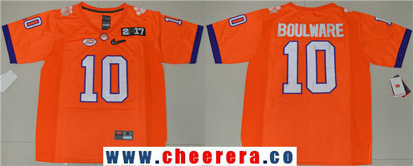 Men's Clemson Tigers #10 Ben Boulware Orange 2017 Championship Game Patch Stitched CFP Nike Limited Jersey