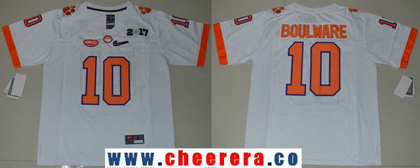 Men's Clemson Tigers #10 Ben Boulware White 2017 Championship Game Patch Stitched CFP Nike Limited Jersey