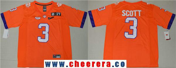 Men's Clemson Tigers #3 Artavis Scott Orange 2017 Championship Game Patch Stitched CFP Nike Limited Jersey