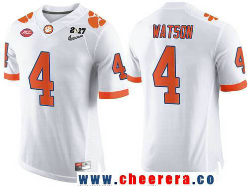 Men's Clemson Tigers #4 Deshaun Watson White 2017 Championship Game Patch Stitched CFP Nike Limited Jersey