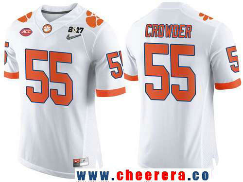 Men's Clemson Tigers #55 Tyrone Crowder White 2017 Championship Game Patch Stitched CFP Nike Limited Jersey