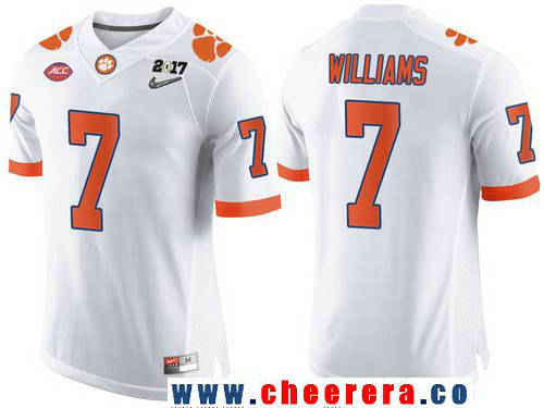Men's Clemson Tigers #7 Mike Williams White 2017 Championship Game Patch Stitched CFP Nike Limited Jersey