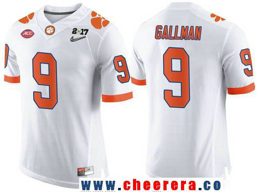 Men's Clemson Tigers #9 Wayne Gallman White 2017 Championship Game Patch Stitched CFP Nike Limited Jersey