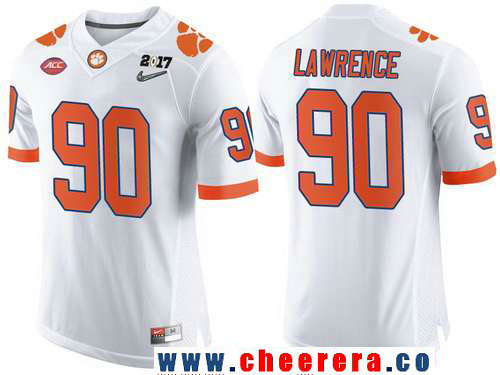 Men's Clemson Tigers #90 Dexter Lawrence White 2017 Championship Game Patch Stitched CFP Nike Limited Jersey