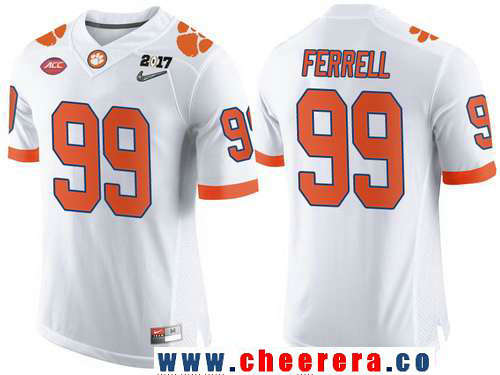 Men's Clemson Tigers #99 Clelin Ferrell White 2017 Championship Game Patch Stitched CFP Nike Limited Jersey