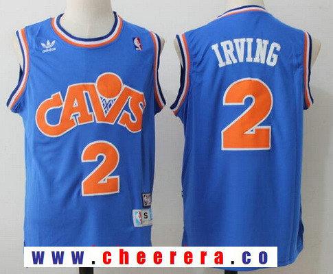 Men's Cleveland Cavaliers #2 Kyrie Irving Blue Hardwood Classics Soul Swingman Throwback Jersey