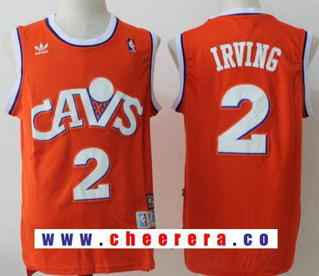 Men's Cleveland Cavaliers #2 Kyrie Irving Orange Hardwood Classics Soul Swingman Throwback Jersey