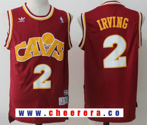 Men's Cleveland Cavaliers #2 Kyrie Irving Red Hardwood Classics Soul Swingman Throwback Jersey