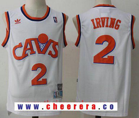 Men's Cleveland Cavaliers #2 Kyrie Irving White Hardwood Classics Soul Swingman Throwback Jersey
