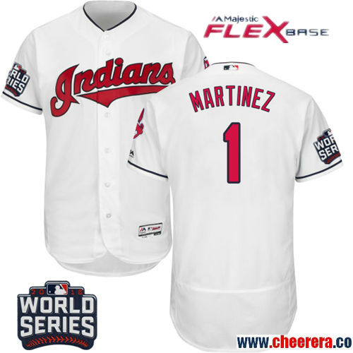 Men's Cleveland Indians #1 Michael Martinez White Home Stitched MLB Majestic Flex Base Jersey With 2016 World Series Patch