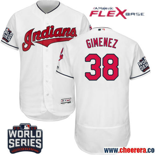 Men's Cleveland Indians #38 Chris Gimenez White Home Stitched MLB Majestic Flex Base Jersey With 2016 World Series Patch