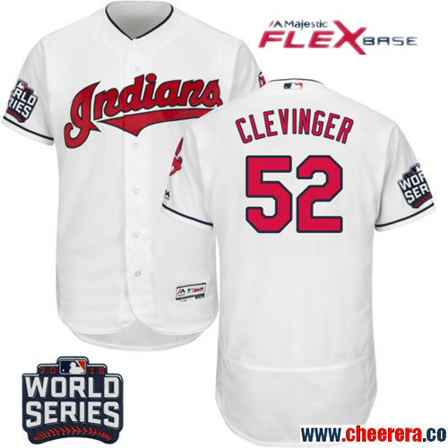 Men's Cleveland Indians #52 Mike Clevinger White Home Stitched MLB Majestic Flex Base Jersey with 2016 World Series Patch