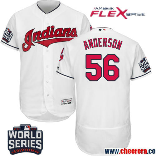 Men's Cleveland Indians #56 Cody Anderson White Home Stitched MLB Majestic Flex Base Jersey with 2016 World Series Patch