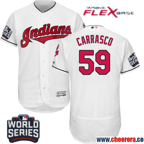 Men's Cleveland Indians #59 Carlos Carrasco White Home Stitched MLB Majestic Flex Base Jersey with 2016 World Series Patch