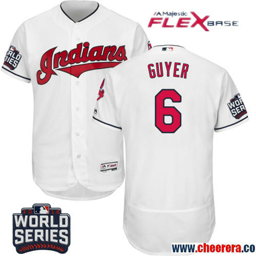 Men's Cleveland Indians #6 Brandon Guyer White Home Stitched MLB Majestic Flex Base Jersey With 2016 World Series Patch