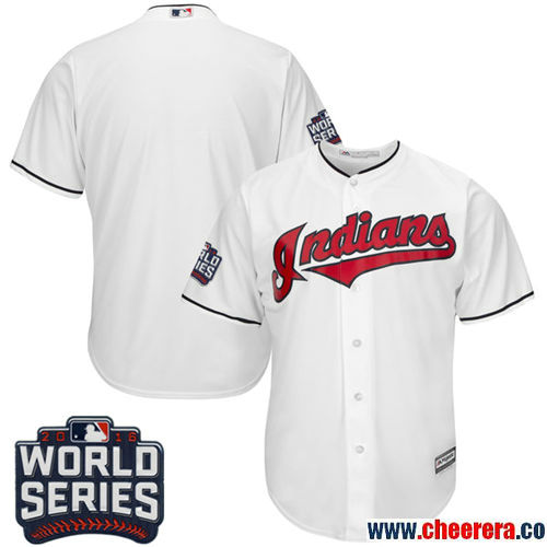 Men's Cleveland Indians Blank White Home Stitched MLB Majestic Cool Base Jersey with 2016 World Series Patch