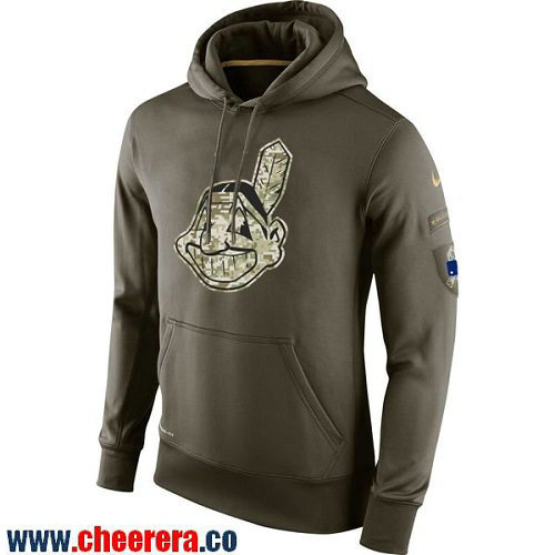 Men's Cleveland Indians Nike Olive Green Salute To Service MLB KO Performance Hoodie