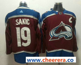 Men's Colorado Avalanche #19 Joe Sakic Red With C Patch 2017-2018 Hockey Stitched NHL Jersey