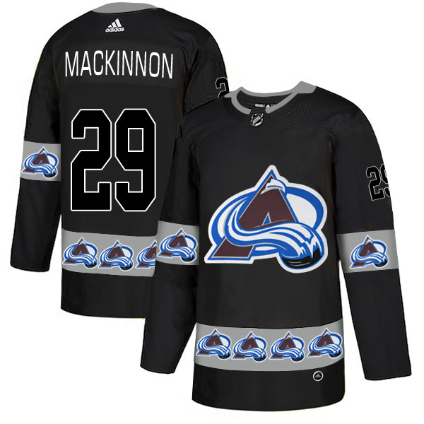 Men's Colorado Avalanche #29 Nathan MacKinnon Black Team Logos Fashion Adidas Jersey