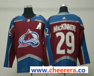Men's Colorado Avalanche #29 Nathan MacKinnon Red With A Patch 2017-2018 Hockey Stitched NHL Jersey