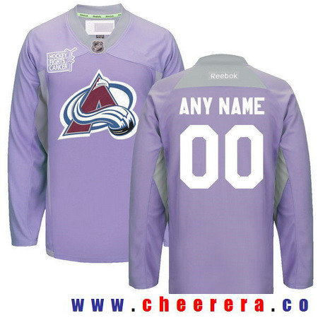 Men's Colorado Avalanche Purple Pink Custom Reebok Hockey Fights Cancer Practice Jersey