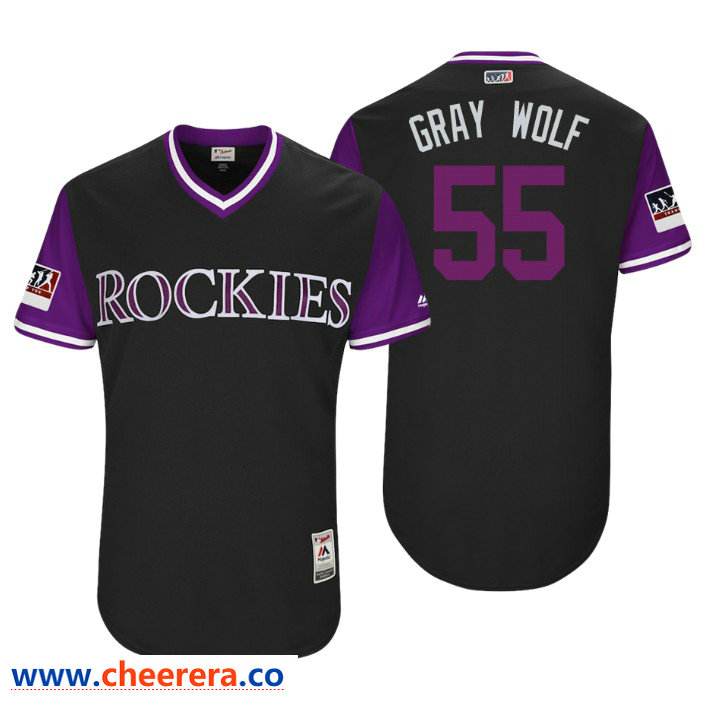 Men's Colorado Rockies Authentic Jon Gray #55 Black 2018 LLWS Players Weekend Gray Wolf Jersey