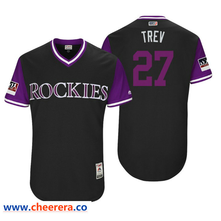 Men's Colorado Rockies Authentic Trevor Story #27 Black 2018 LLWS Players Weekend Trev Jersey