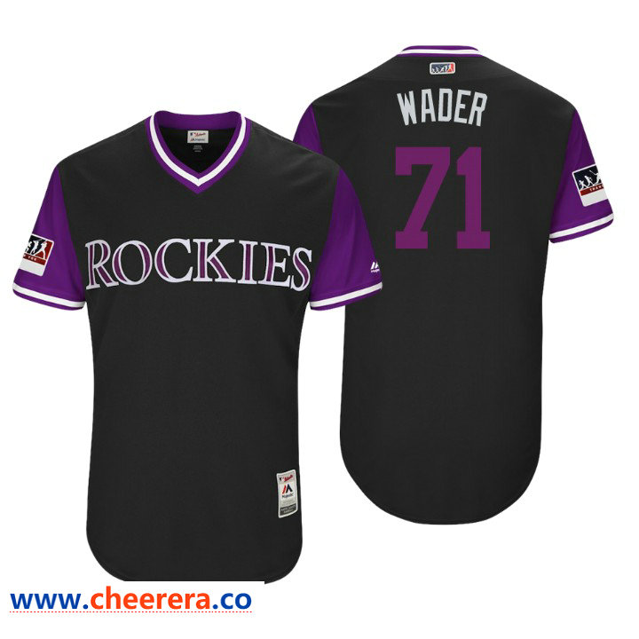 Men's Colorado Rockies Authentic Wade Davis #71 Black 2018 LLWS Players Weekend Wader Jersey